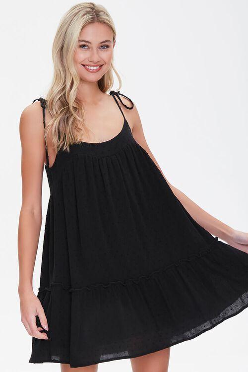 BLACK Flounce-Hem Mini Shift Dress, image 1
