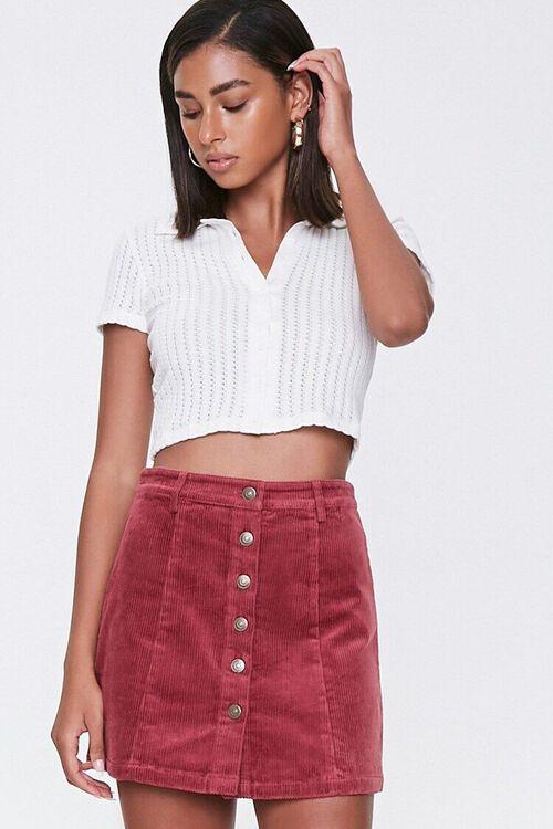 Corduroy Button-Front Mini Skirt, image 1