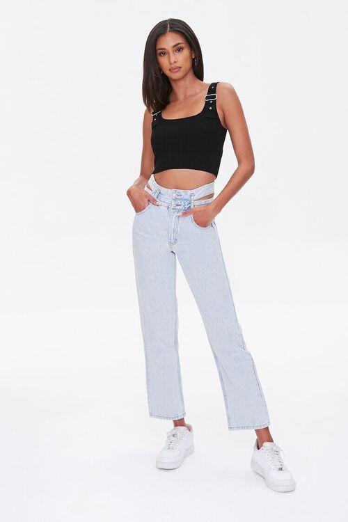 LIGHT DENIM Cutout Straight-Leg Jeans, image 1