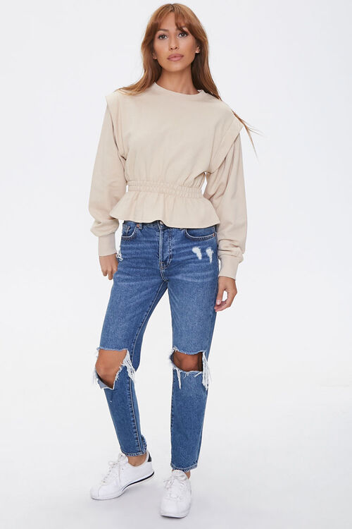 French Terry Flounce-Hem Top, image 4
