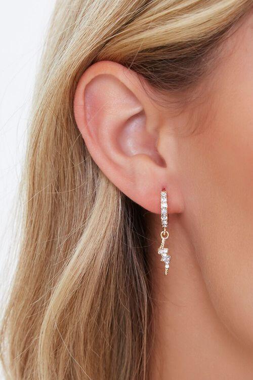 Rhinestone Thunderbolt Charm Hoop Earrings, image 1