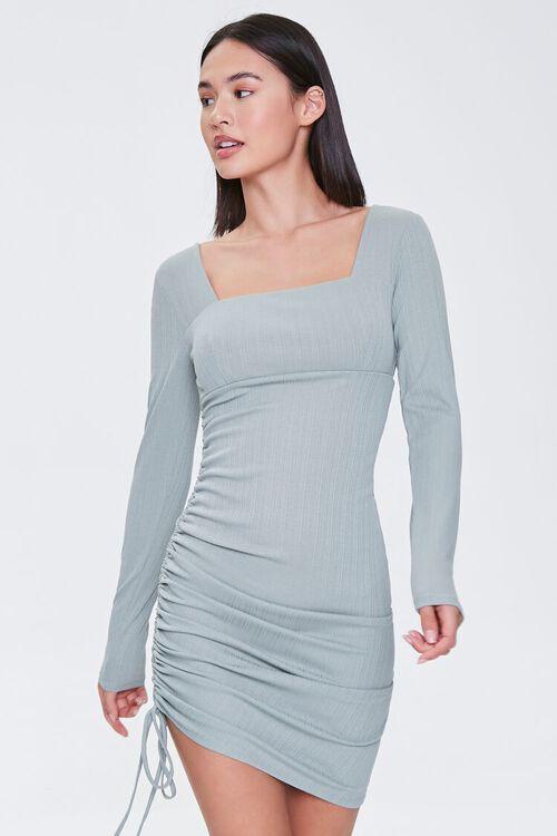 Ruched Drawstring Mini Dress, image 1