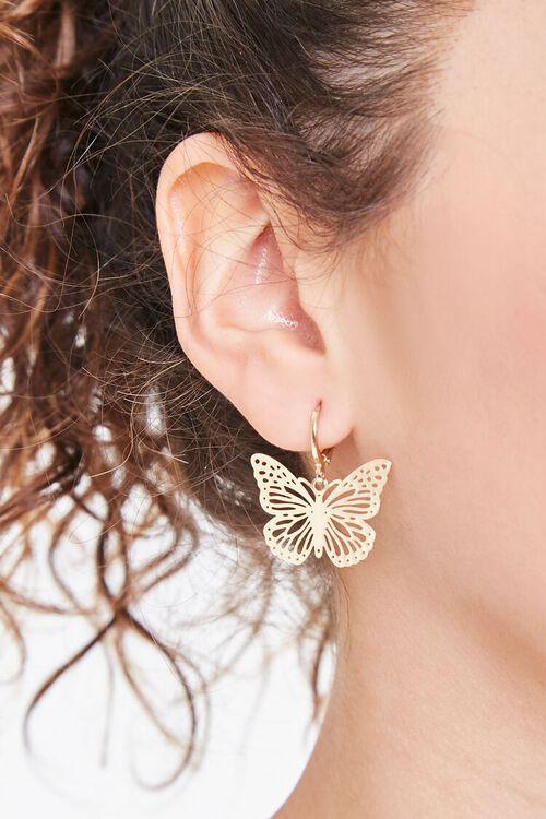 GOLD Butterfly Pendant Drop Earrings, image 1