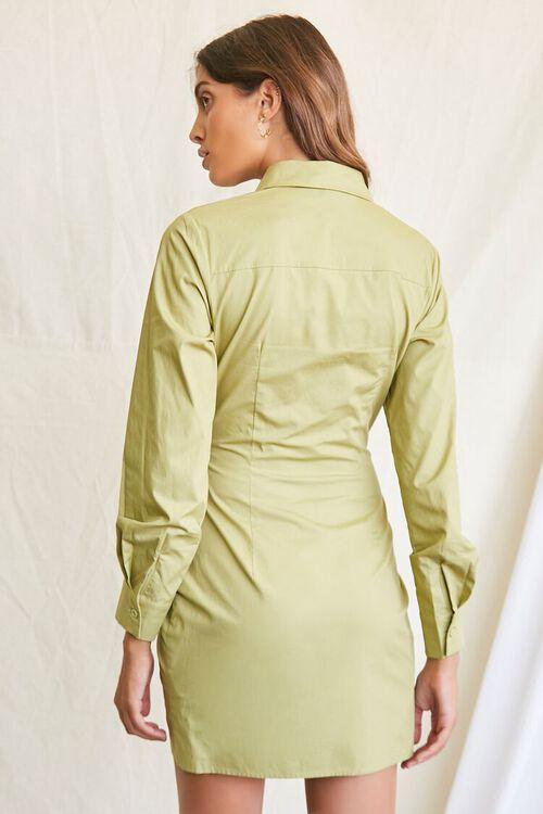 LIGHT OLIVE Ruched Shirt Mini Dress, image 3