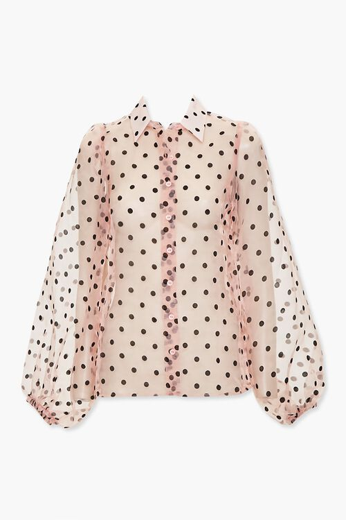 Sheer Organza Polka Dot Shirt, image 1