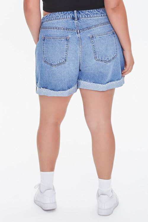 Plus Size Whiskered Denim Shorts, image 4