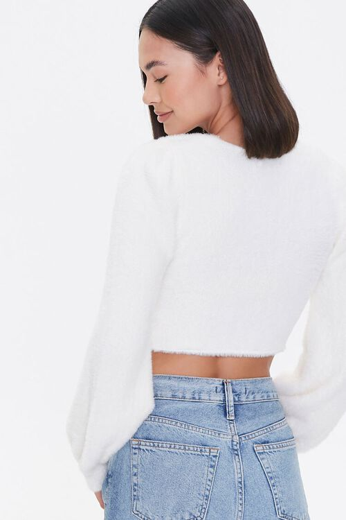 Ruched Fuzzy Knit Crop Top, image 3