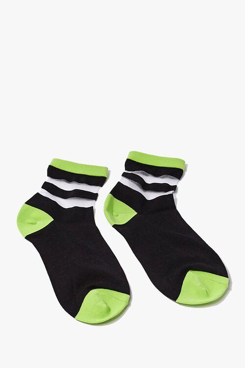 Colorblock Striped-Trim Crew Socks, image 2