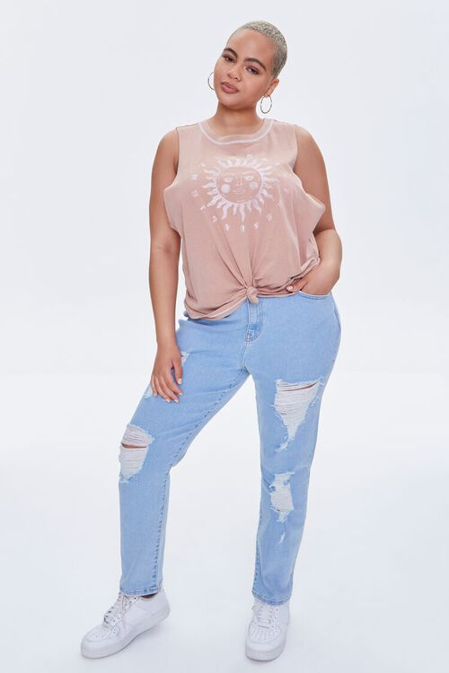 Plus Size Sun Graphic Muscle Tee, image 4