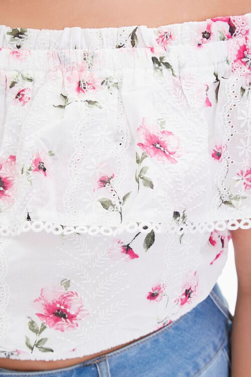 Plus Size Floral Lace Flounce Top, image 5