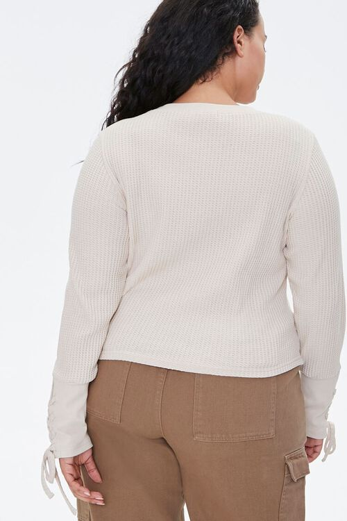 Plus Size Lace-Up Waffle Knit Top, image 3