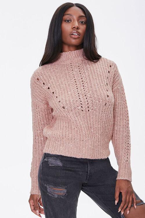 Open-Knit Mock Neck Sweater, image 5