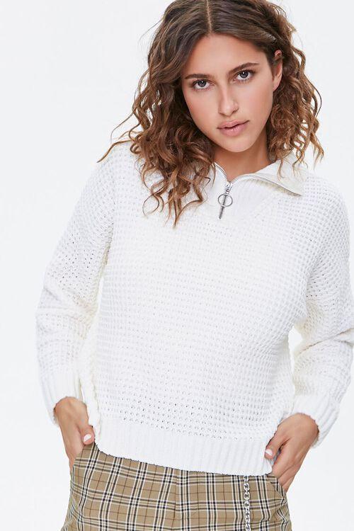 Open-Knit Half-Zip Sweater, image 1