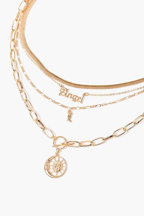 GOLD Angel Sun Pendant Layered Necklace, image 1