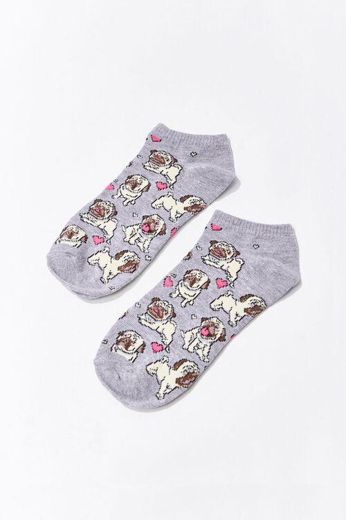Pug Print Ankle Socks, image 2