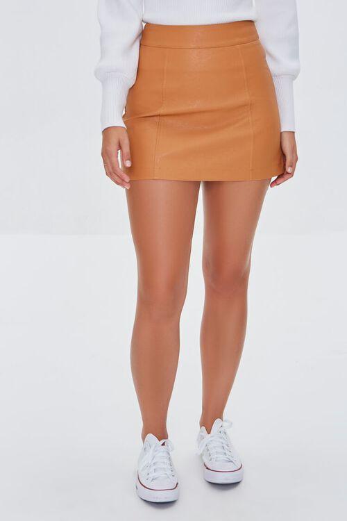 CAMEL Faux Leather Mini Skirt, image 2