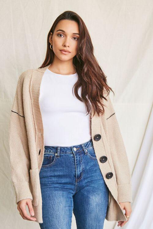 TAUPE Ribbed Longline Cardigan Sweater, image 1