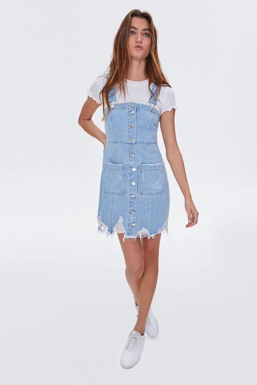 Distressed Denim Overall Dress, image 4