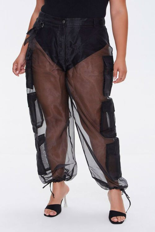 Plus Size Sheer Organza Cargo Pants, image 2