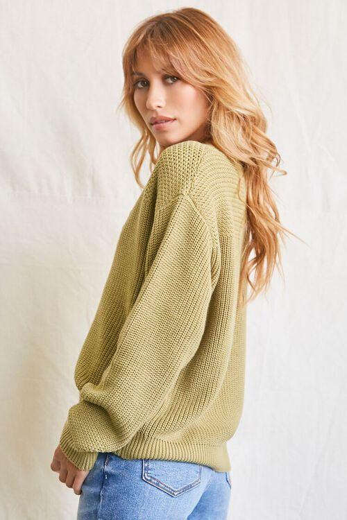 LIGHT OLIVE Purl-Yoke Buttoned Sweater, image 2