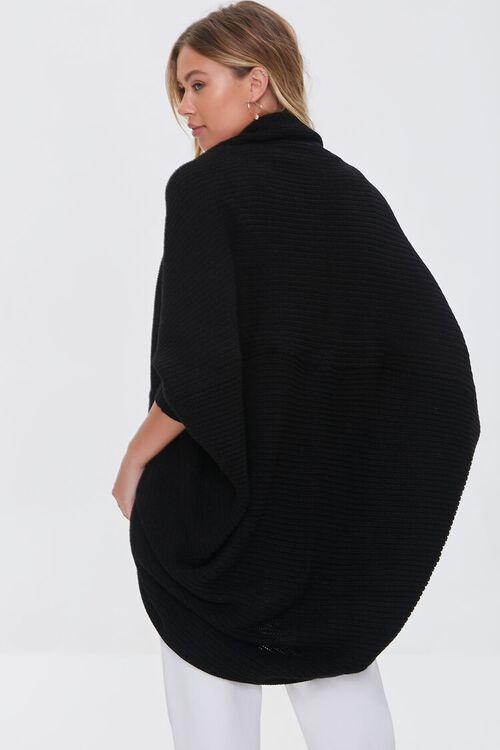 BLACK Ribbed Open-Front Cardigan Sweater, image 3