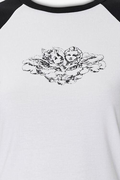 WHITE/BLACK Angel Art Graphic Tee, image 3