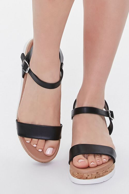 BLACK Faux Leather Open-Toe Wedges, image 4