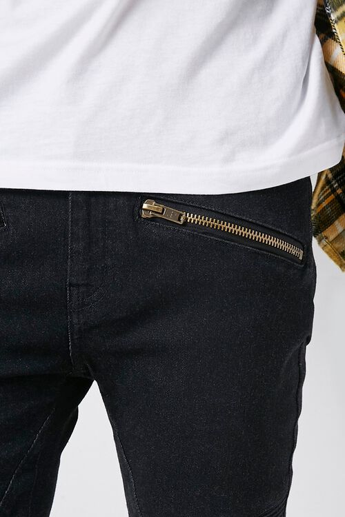 Skinny Zippered Moto Jeans, image 5
