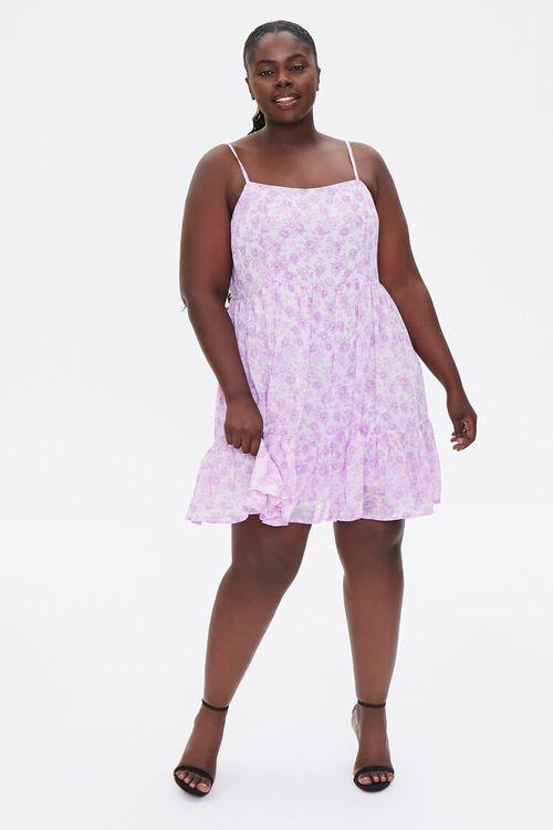 LAVENDER/MULTI Plus Size Floral Flounce-Trim Mini Dress, image 4