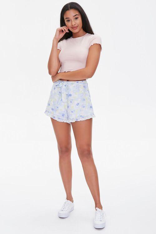 Floral Print Ruffle-Trim Shorts, image 5