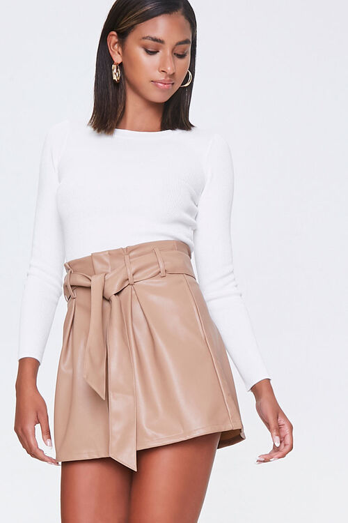 Faux Leather Paperbag Mini Skirt, image 1