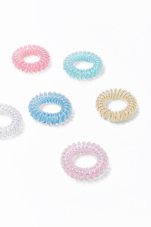 PINK/MULTI Glittered Spiral Hair Tie Set, image 1