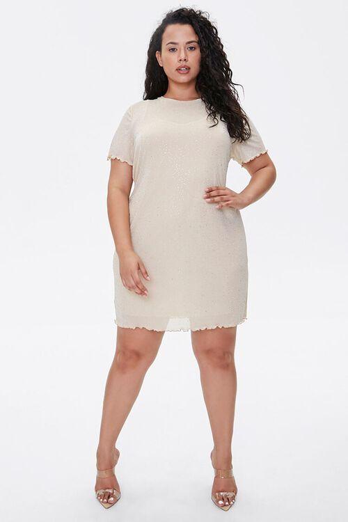 Plus Size Metallic Pin Dot T-Shirt Dress, image 4