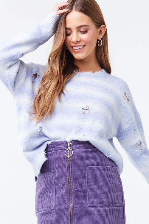 Brushed Distressed Striped Sweater, image 1