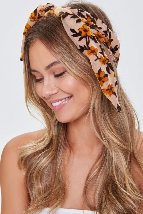 NUDE/MULTI Floral Print Knotted Headwrap, image 2