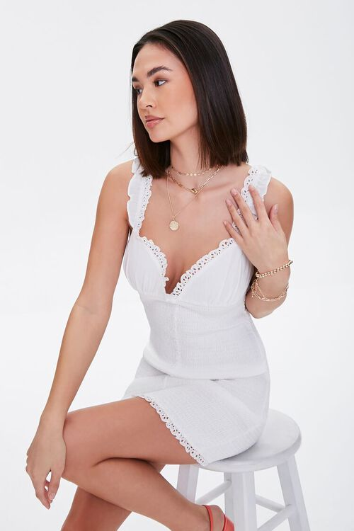 Crochet-Trim Smocked Mini Dress, image 1