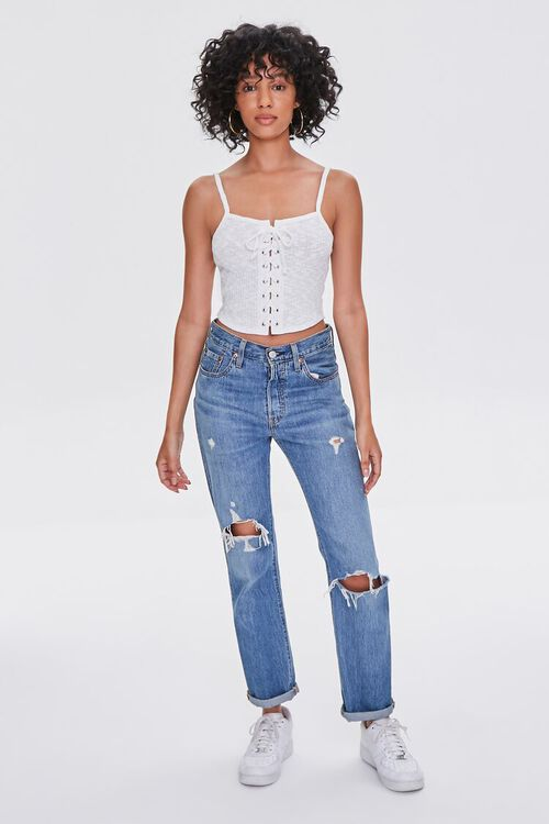Ribbed Lace-Up Cropped Cami, image 4