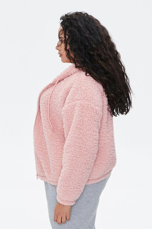 Plus Size Faux Shearling Zip-Up Hoodie, image 2