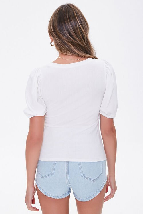 Ribbed Puff Sleeve Top, image 3