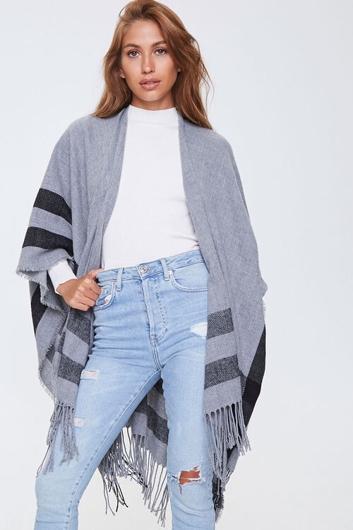 Fringe-Trim Striped Shawl, image 1