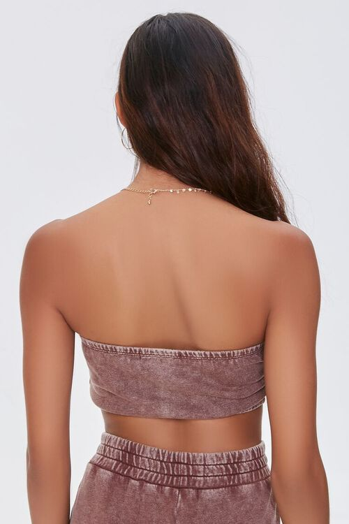 BROWN Oil Wash Cropped Tube Top, image 3