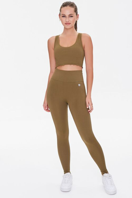 Active Seamless Ribbed High-Rise Leggings, image 1