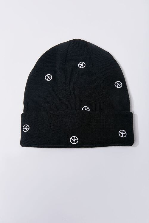 Peace Sign Embroidered Beanie Set, image 3