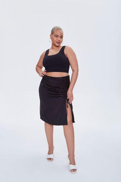 Plus Size Ruched Drawstring Skirt, image 1