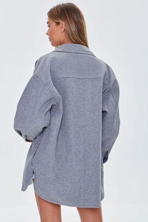 HEATHER GREY Oversized Button-Front Shacket, image 3