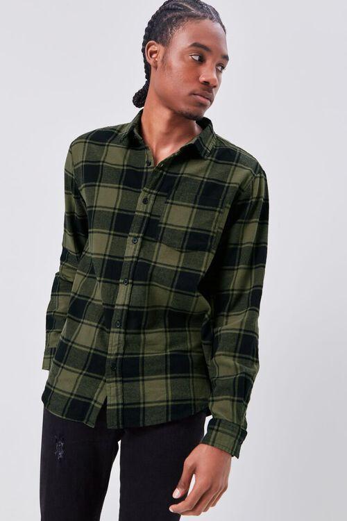 OLIVE/BLACK Classic Fit Flannel Plaid Shirt, image 1