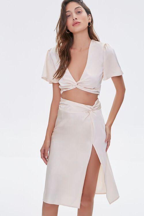 Gathered Satin Slit Skirt, image 1
