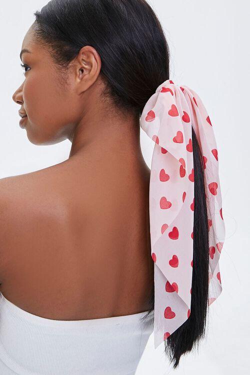 Heart Print Bow Scrunchie, image 1