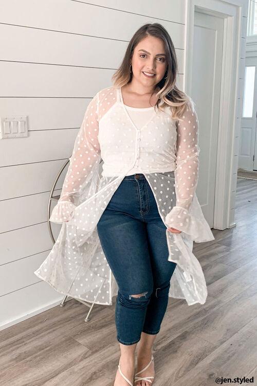 Plus Size Clip Dot Lace Kimono, image 1