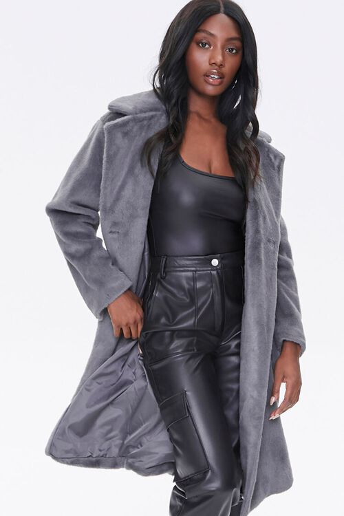 Faux Fur Button-Front Trench Coat, image 1